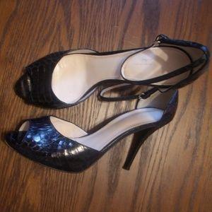 Elie Tahari Black Snakeskin Heels